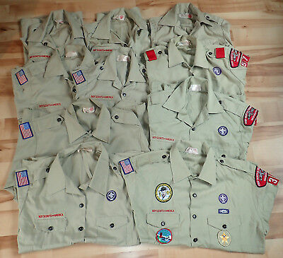 Lot of 10 Boy Scout uniform shirts