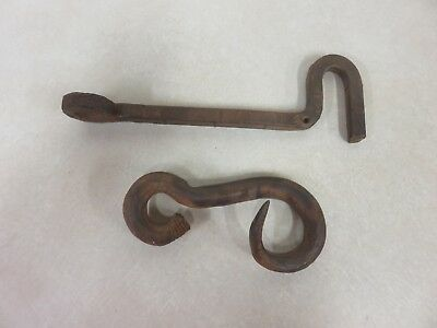 Lot Of Two Hand Forged Farm Iron Hooks Vintage Antique