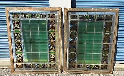 Pair Large Antique Holland Painted & Fired Stained Glass Windows