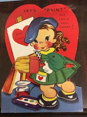 Vintage Valentines Card, Girl Painting W/Jointed Moveable Arm