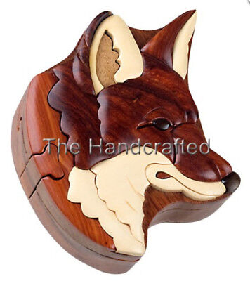 NEW Four Piece Red Fox INTARSIA Wood Puzzle Box, FREE SHIPPING