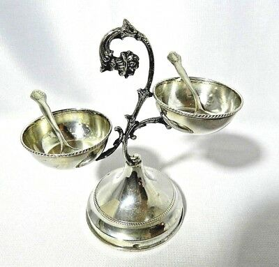 Antique Silver 800 Salt Cellar Tree with Spoons