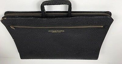 Vintage Genuine Cowhide Leather Salesman Briefcase Sales Bag Case Black
