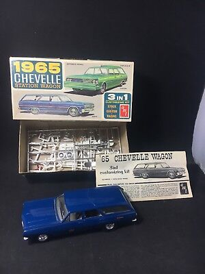Vintage AMT 1965 Chevelle Station Wagon 3 In 1 Customizing Kit Built Box + Parts