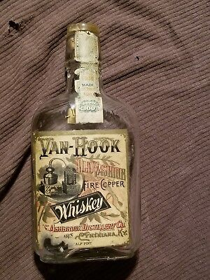 Antique Van Hook Whiskey Bottlw with Glass/Cork Stopper
