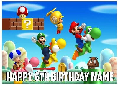 Super Mario Bros Personalised Edible Icing Cake Topper A4
