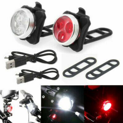 Bike Light Front Rear USB Rechargeable LED 4Modes Bicycle Light Set Riding