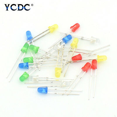 100Pcs 3mm/5mm 2 Pins Round Green Yellow Red Blue White Light LED Emitting Diode