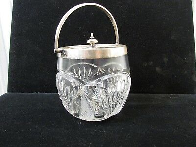 "Large 5 In High 5"" Diameter Biscuit Jar Plated Silver Lid Mid Century 1126"