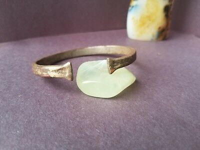 Ancient Viking Bronze Bracelet With Axe Ends