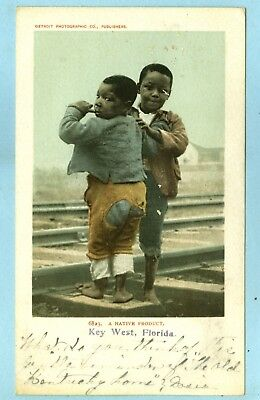 """Vintage, """"A NATIVE PRODUCT, Key West, FL"""", 2 Young Black Boys on Rail Road Track"""