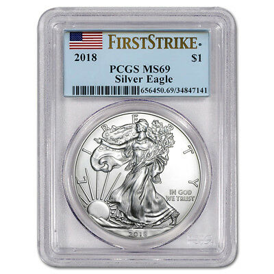 Certified Uncirculated Silver Eagle 2018 MS69 PCGS First Strike