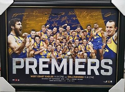 West Coast Eagles Afl 2018 Premiers Signed Print Framed - Great Christmas Gift