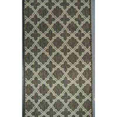 Hall Runner Carpet Rug Silver 66cm wide Rubber Backed Seaspray Moroccan Brown
