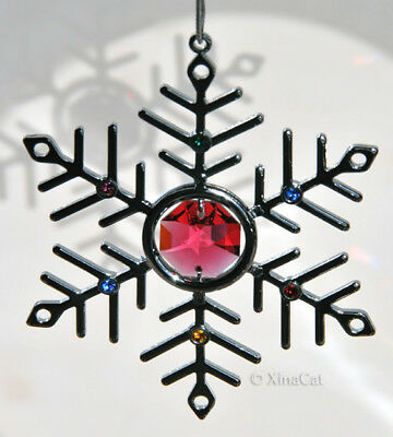 Red Austrian Crystal Chrome Snowflake Prism Ornament