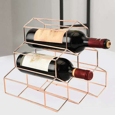 Wine Bottle Holder Rack Storage Stand Home Kitchen Bar Display Shelf Rose Gold