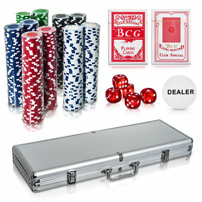 Professional 500 PIECE TEXAS HOLD'EM POKER CASINO GAME CHIPS SET With Carry CASE