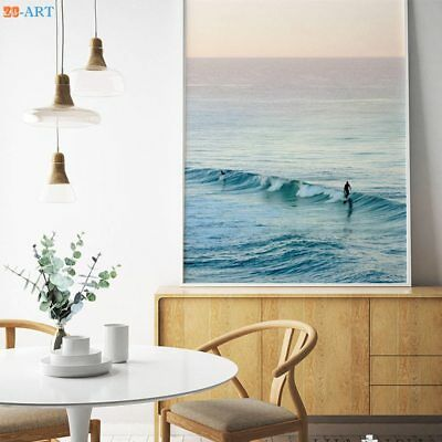 Ocean Waves Beach Print Wall Art Minimalist Surfing Canvas Painting Poster