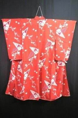 Vintage Japanese Red Plum Blossom Synthetic Kimono/Robe/Coat XS/S *Some Stains*