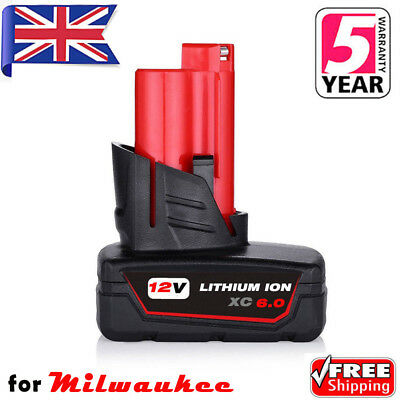 6.0AH 12V Lithium-Ion Battery For Milwaukee M12 48-11-2440 48-11-2411 48-11-2460