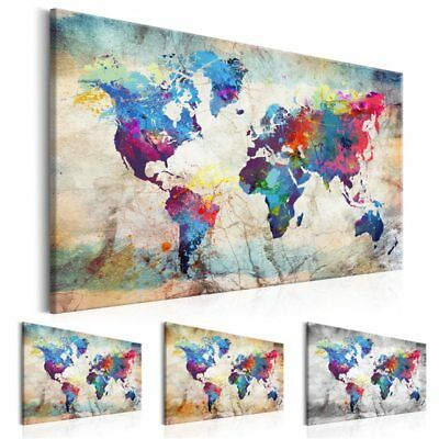 Modern Wall Art Single Piece Canvas Poster World Map Colorful Decoration Picture