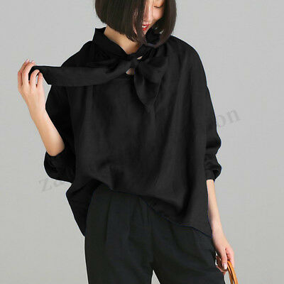 ZANZEA Women Long Sleeve Bowknot Neck Shirt Tops Loose Oversize Blouse Plus Size