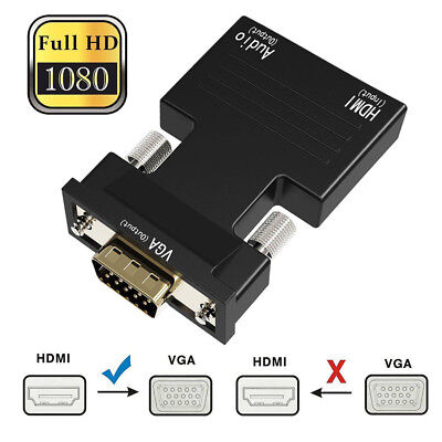 1080P HD HDMI Female to VGA Male Adapter with 3.5mm Stereo Audio Cable Output