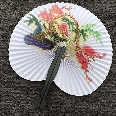 """FLORAL TREE """"Pink & White"""" Beautiful Traditional Handheld Folding Fan Accessory"""