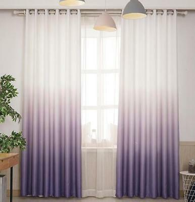 Eyelet Blockout Gradient Curtains Darkening 2 Panels Modern Room Curtain Drape