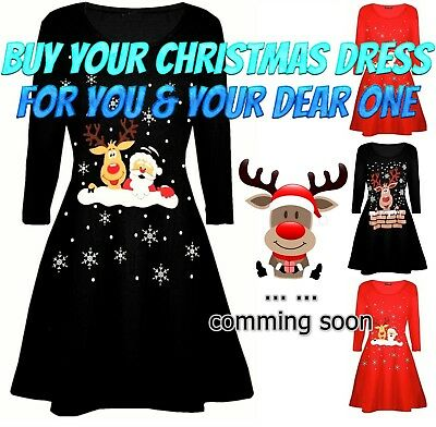 Girls Mother Daughter Matching Christmas Swing Dress Ladies Xmas Womens Kids Top