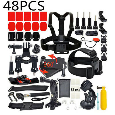 48 Pcs Accessories Set Kit For GoPro Hero 7/ 6 5 4 3 2 1 Camera Head Chest Strap