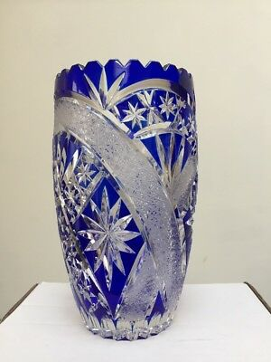 Lead crystal cut glass vase Cobalt Blue