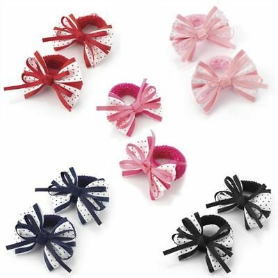 2 Girls Babies Polka Dot Hair Bows Ponios Elastics Bobbles Bands Back to School