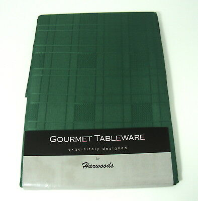 "A Large Rectangular Dark Green Chequers Tablecloth 70"" x 108 (178cm x 275cm)"