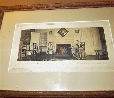 Antique 1915 Wallace Nutting Print Framed Hand Tinted Fire,- Signed W.N. 15