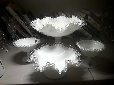 Vintage Art Glass-Fenton Silver Crest- Four Ruffled Compotes(Incl. 2 Nut Dishes)