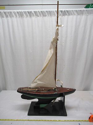 Antique Wooden Model Pond Yacht Sail Boat on Stand