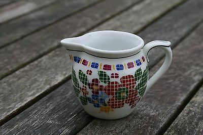 Vintage Small White China Creamer with Stylised Floral Design