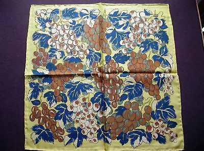New Drakes of London Pure Silk Twill Pocket Hankie Golden Grapes Design