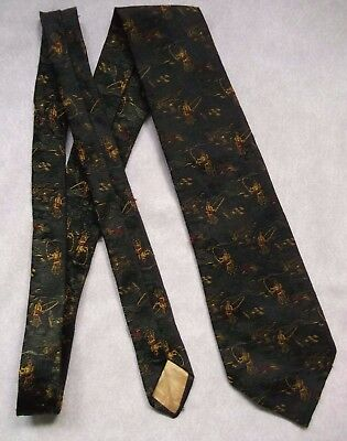 Vintage Tie MENS Wide Necktie RETRO FISHING