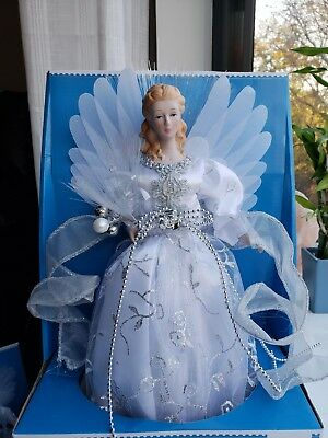 """Angel Tree Topper LED Fiber Optic Colors 12"""" By Holiday Time White Silver New"""