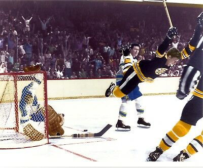 "Bobby Orr ""the Goal"" 8X10 Photo (Colorized Version)"