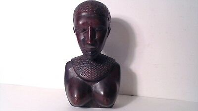 Beautiful Vintage Tribal Hand Carved African Woman's Bust Estate Art
