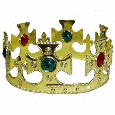 Gold Wrap Around Jewelled Kings Crown Christmas World Book Day Fancy Dress Item