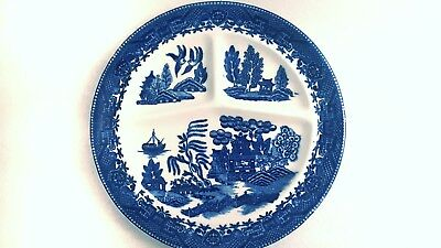 1 OLD Moriyama Blue Willow China  Restaurant Dinner Plate occupied Japan