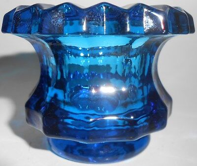 cobalt blue glass salt dip cellar celt star diamond pattern master Green candle