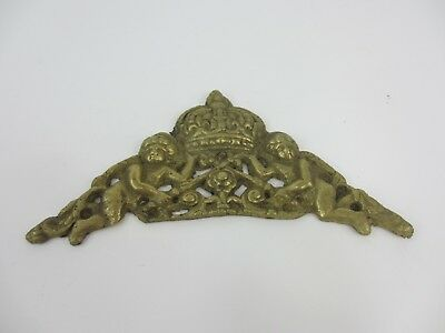 Vintage Brass Ormolu Hardware Top French Cherub Mount Old Antique Crown Clock