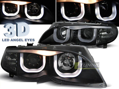 Coppia di Fari Anteriori 3D LED Angel Eyes BMW E46 Serie 3 2001-2005 S T Neri IT