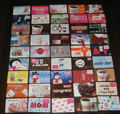 45 Dunkin's Donuts Dd Gift Card Collection New No Cash Valve Great Startor Set