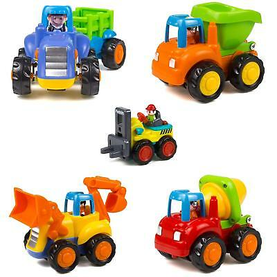 Woby Push and Go Friction Powered Car Toys Set Tractor Bulldozer Mixer Truck and